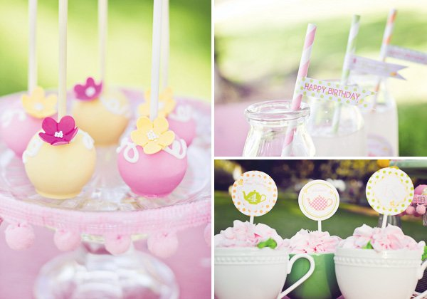 tea party straws and cake pops