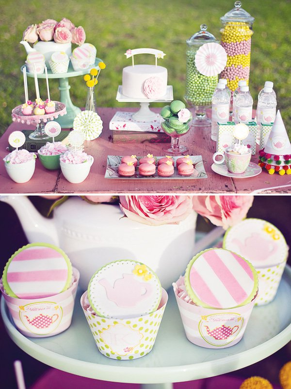 tea party sweets table and cupcake toppers