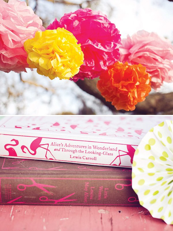 tea party tissue paper pom poms and books