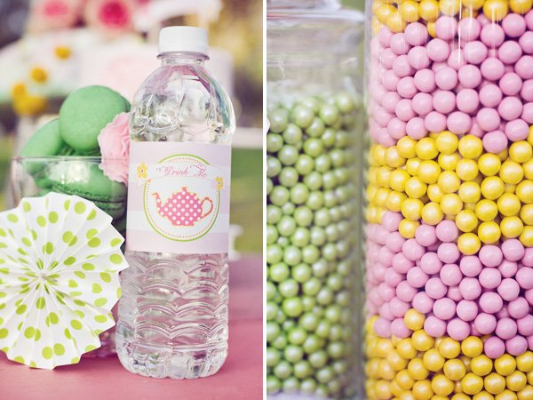 tea party water bottle labels and sixlets