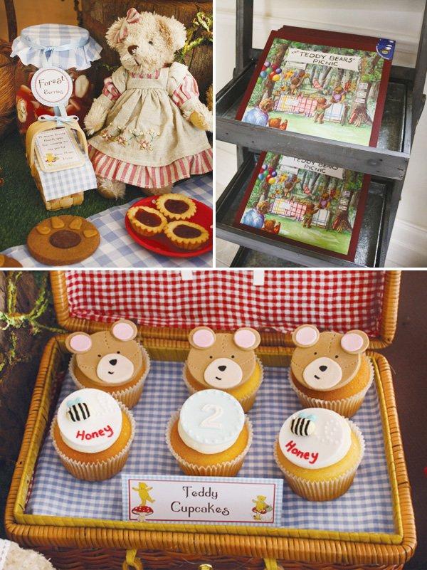 teddy bear birthday party cupcakes