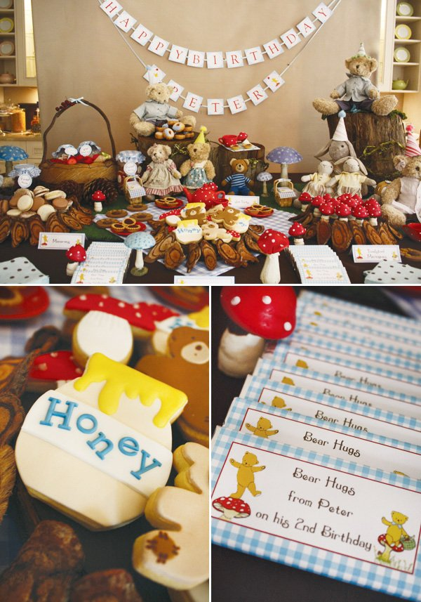 teddy bear birthday party dessert table and honey sugar cookies