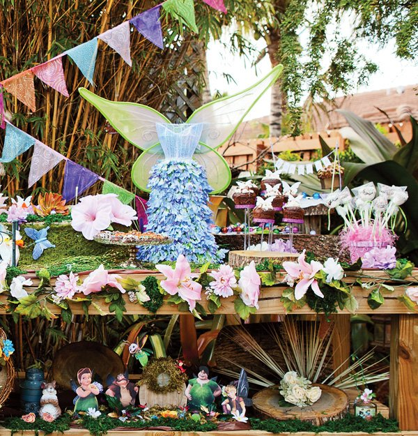 tinkerbell birthday party fairy dress & dessert table