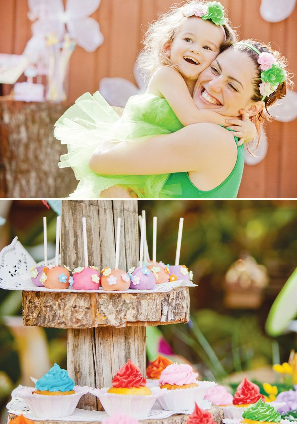 tinkerbell party cake pops and a picture with mom