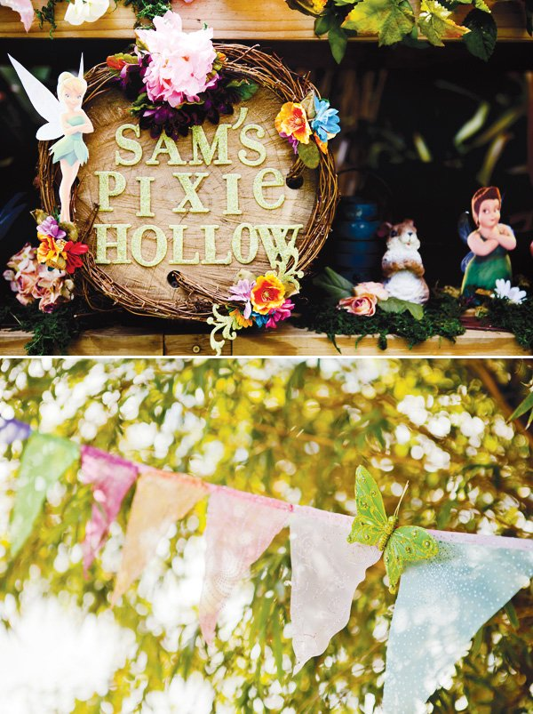 tinkerbell's pixie hollow and glitter bunting decoration