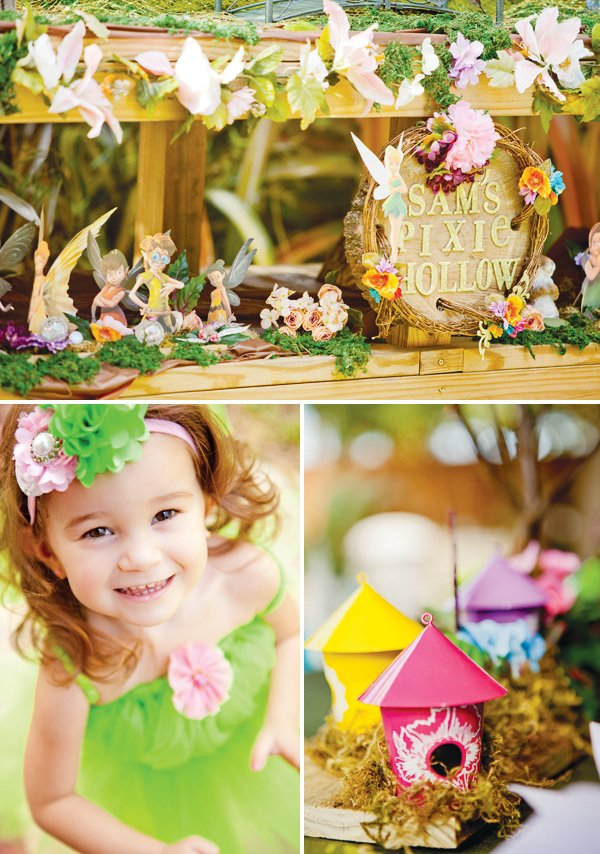 tinkerbell party with a bird house centerpiece