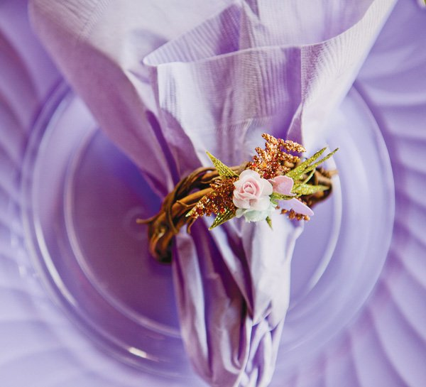 tinkerbell party with woodland lavender napkins and rings