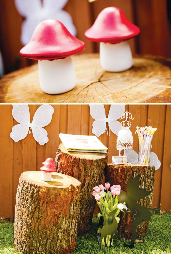 tinkerbell party with tree stump decoration