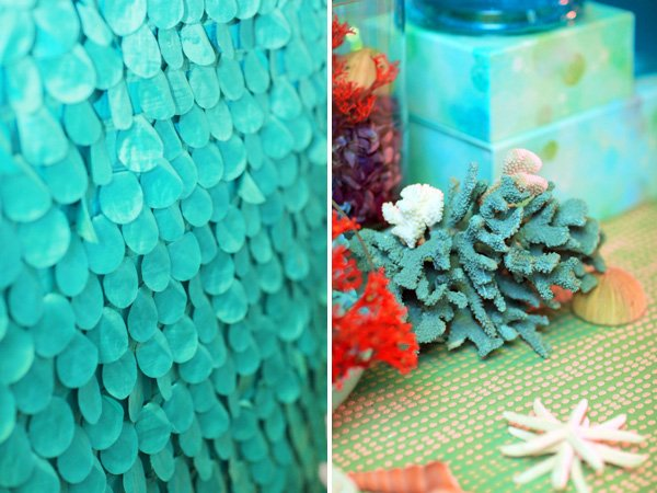 aquamarine mermaid inspired backdrop for under the sea birthday party