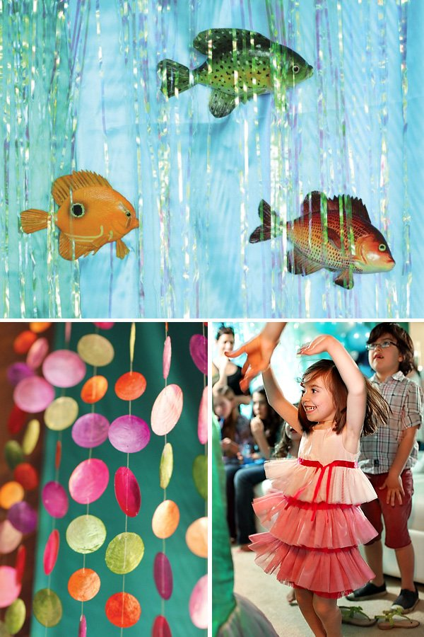 under the sea party decorations and rainbow capiz shell garlands