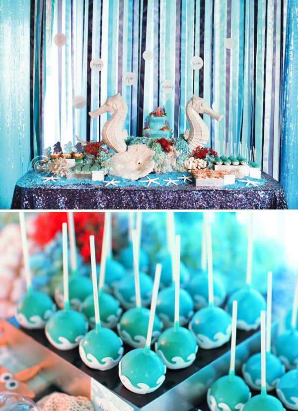 under the sea party dessert table and ocean wave cake pops