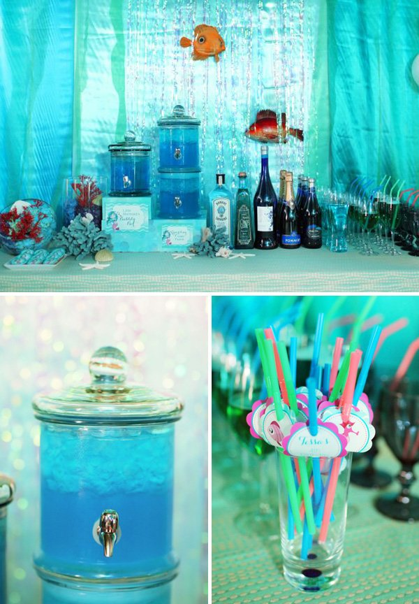 under the sea party drinks, blue punch, and drink straws