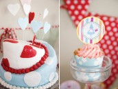 vintage alice in wonderland cake and cupcake topper