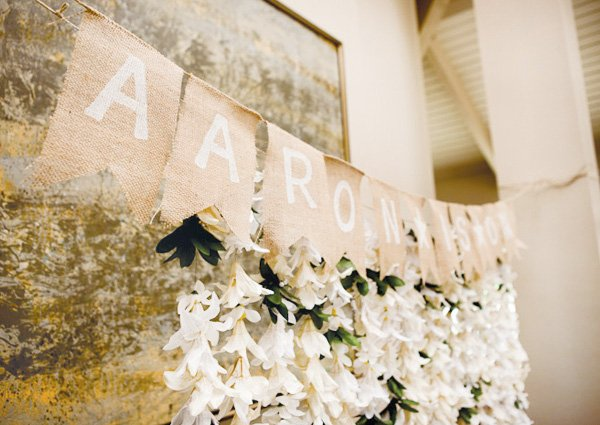 vintage burlap banner garland and orchid flower garlands