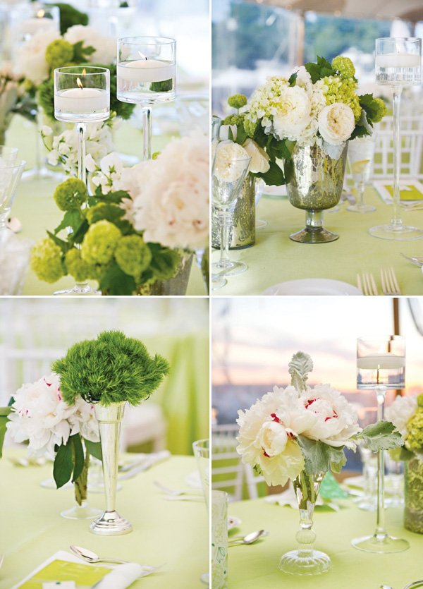 vintage green party flowers