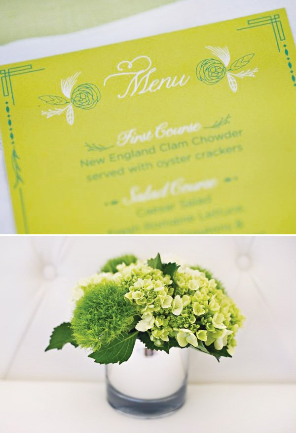 Vintage Green Party Menu And White Flowers