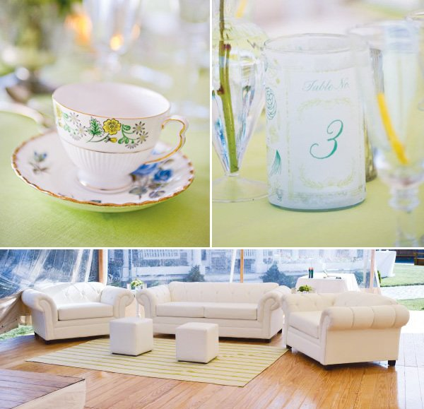 vintage green party table number and couches