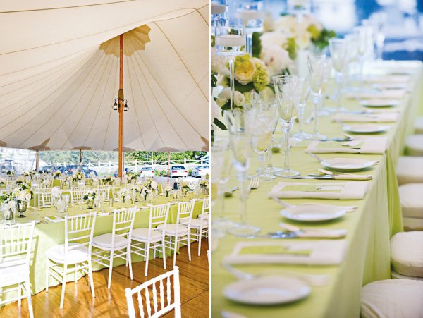 vintage green party tent and tables