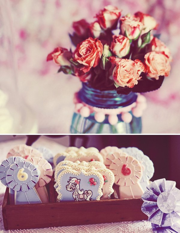 vintage pony party flowers and cookies