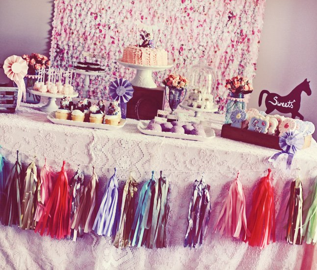vintage pony party sweets table