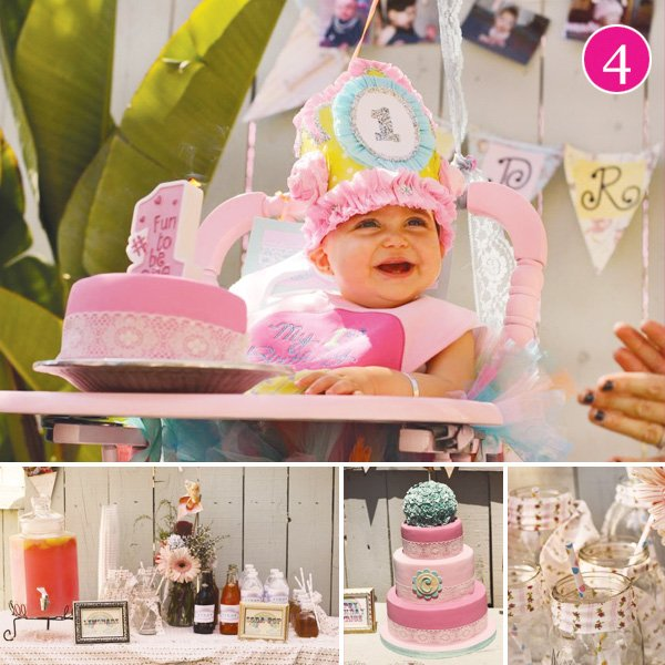 vintage rainbow first birthday party