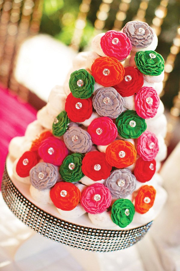 wonderland donut tower with fondant peonies