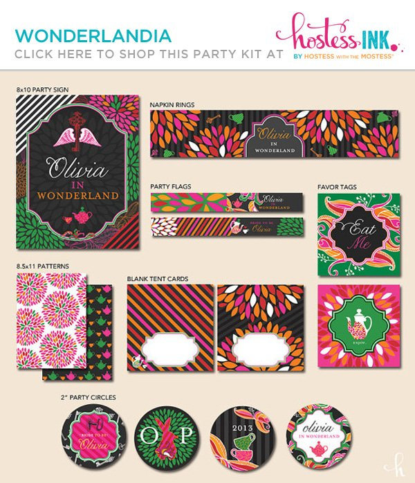 wonderlandia alice in wonderland themed bridal shower party printables collection from hostess ink