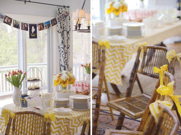 yellow chevron bridal shower chairs