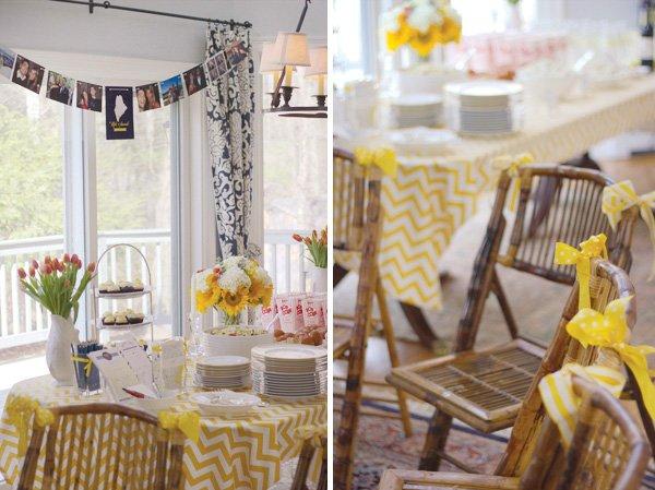 yellow chevron bridal shower chairs
