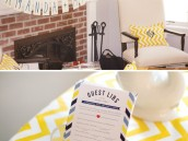 yellow chevron bridal shower decorations and guest libs game