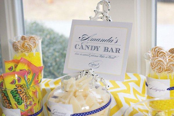 yellow chevron bridal shower candy bar