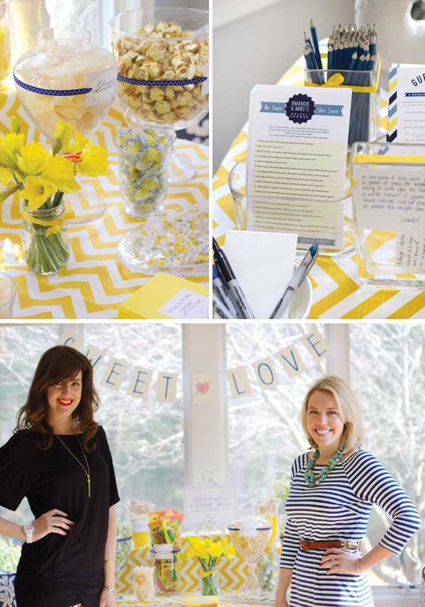 yellow chevron bridal shower candy