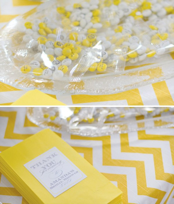 yellow chevron bridal shower favors