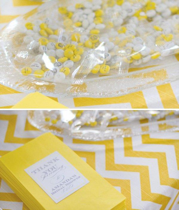 yellow chevron bridal shower favors