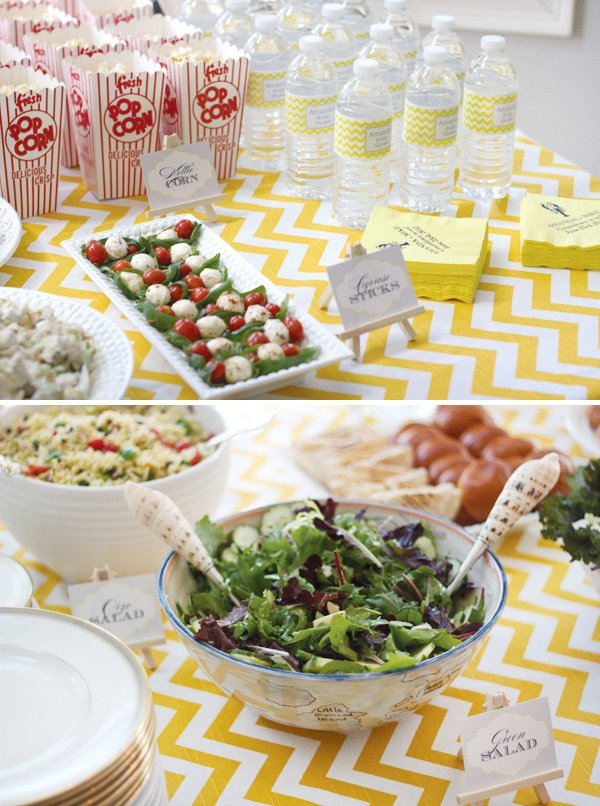yellow chevron bridal shower food labels