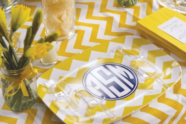 yellow chevron bridal shower monogram tray