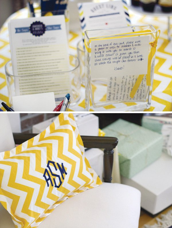 yellow chevron bridal shower monogram pillow