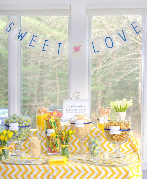 yellow chevron bridal shower sweets table
