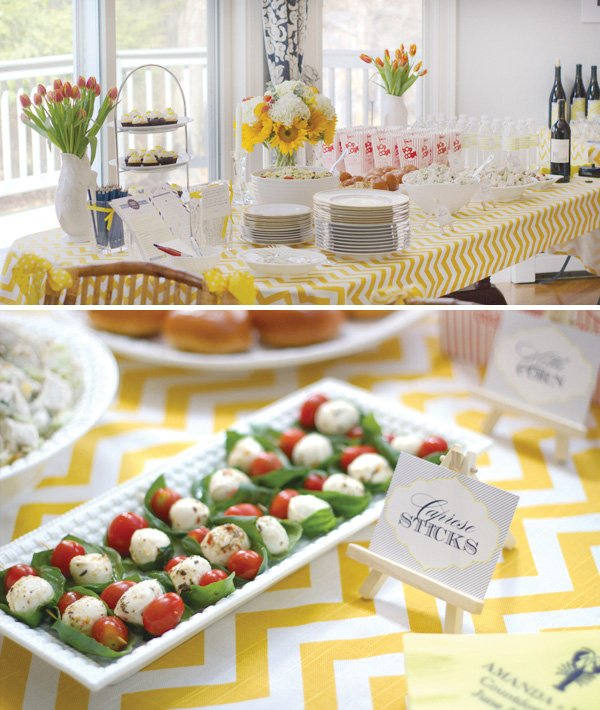 yellow chevron bridal shower food table and labels