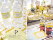yellow chevron bridal shower water bottle labels