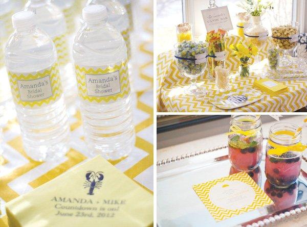 yellow chevron bridal shower water bottle labels
