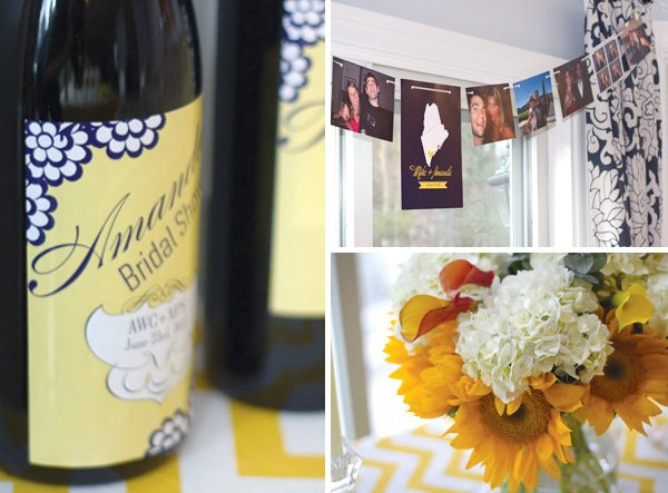 yellow chevron bridal shower wine labels and flowers