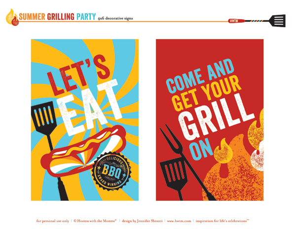 free printables summer grilling party or bbq party hostess with