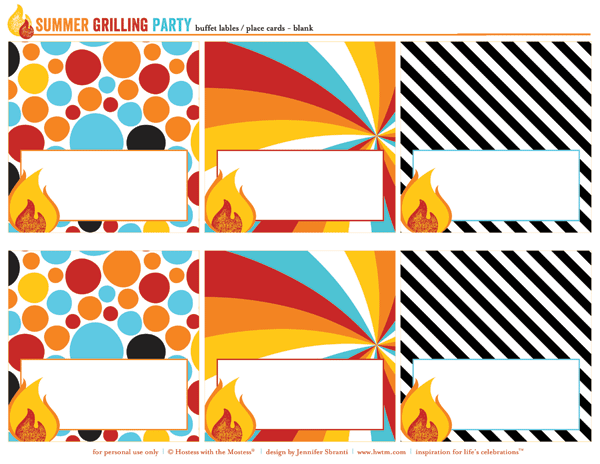 free summer bbq party printables - buffet labels or place cards
