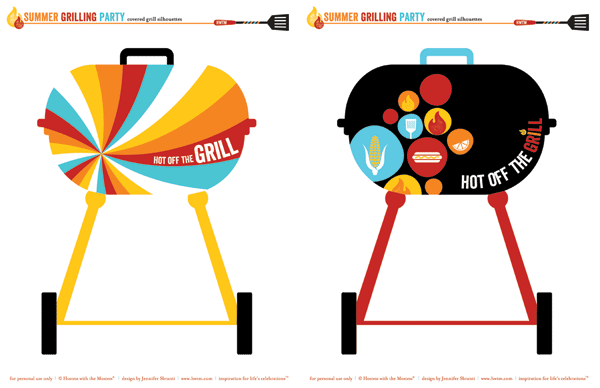free summer bbq party printables - covered grill silhouettes