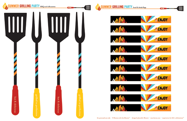 free summer bbq party printables - bbq tool silhouettes and drink flags