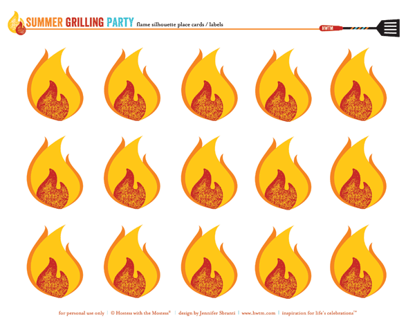free summer bbq party printables - fiery place cards