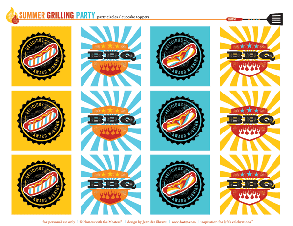 free summer bbq party printables - party circles or cupcake toppers