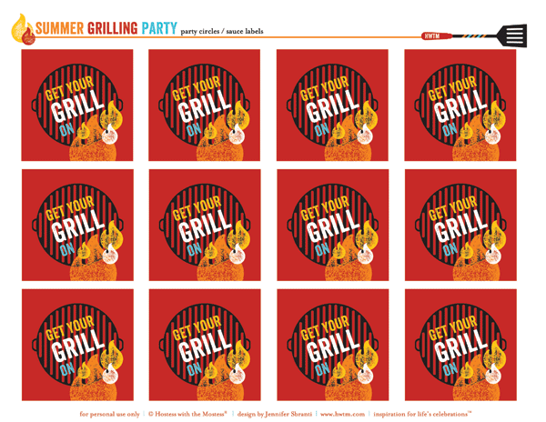 free summer bbq party printables - party circles or sauce labels