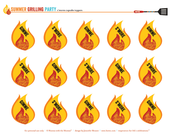 free summer bbq party printables - s'mores cupcake toppers